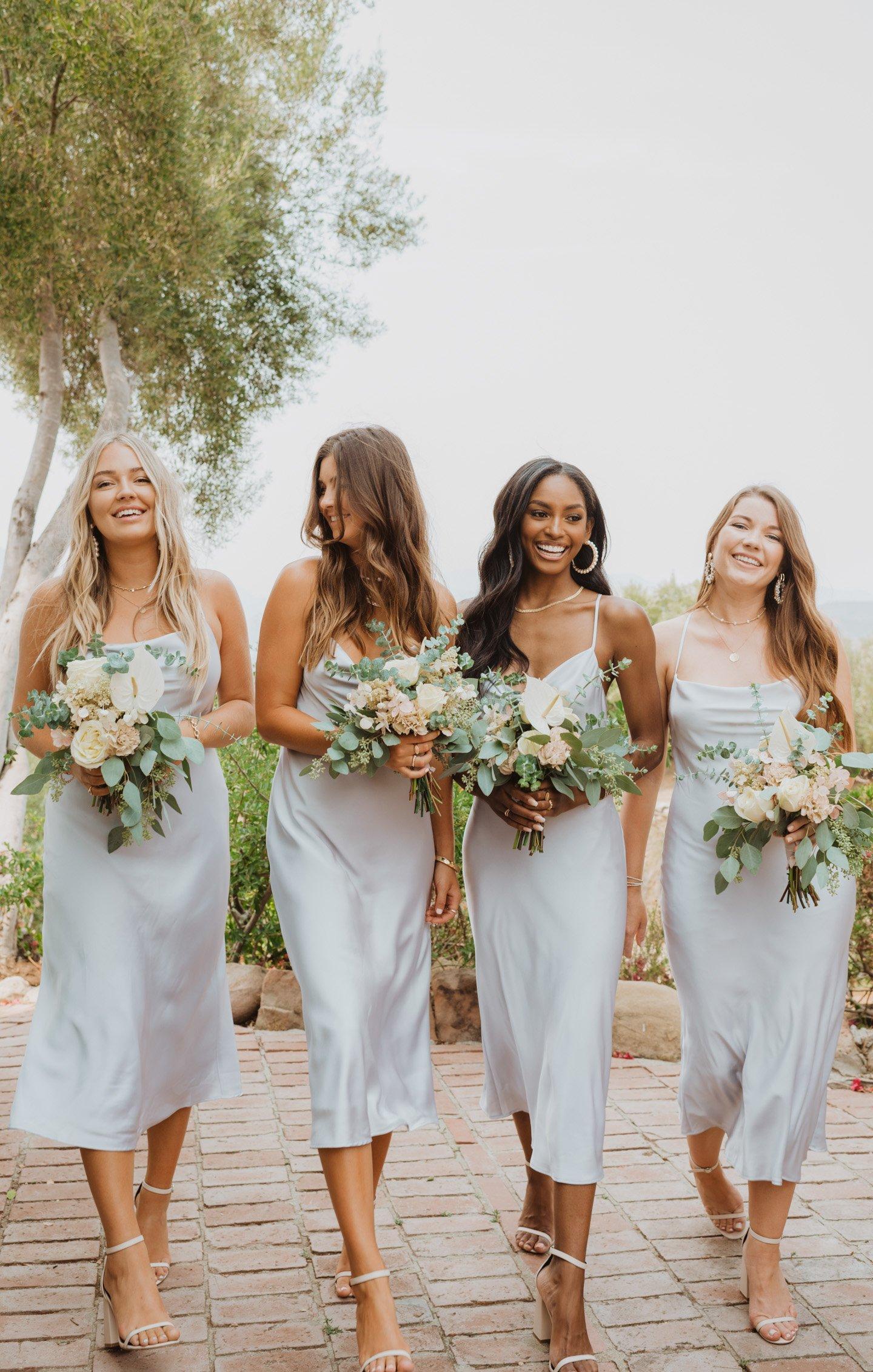 bridesmaid dresses, bridesmaid dress ideas, bridesmaid dress colors, bridesmaid dress styles, blue bridesmaid dress, satin bridesmaid dresses, midi bridesmaid dress