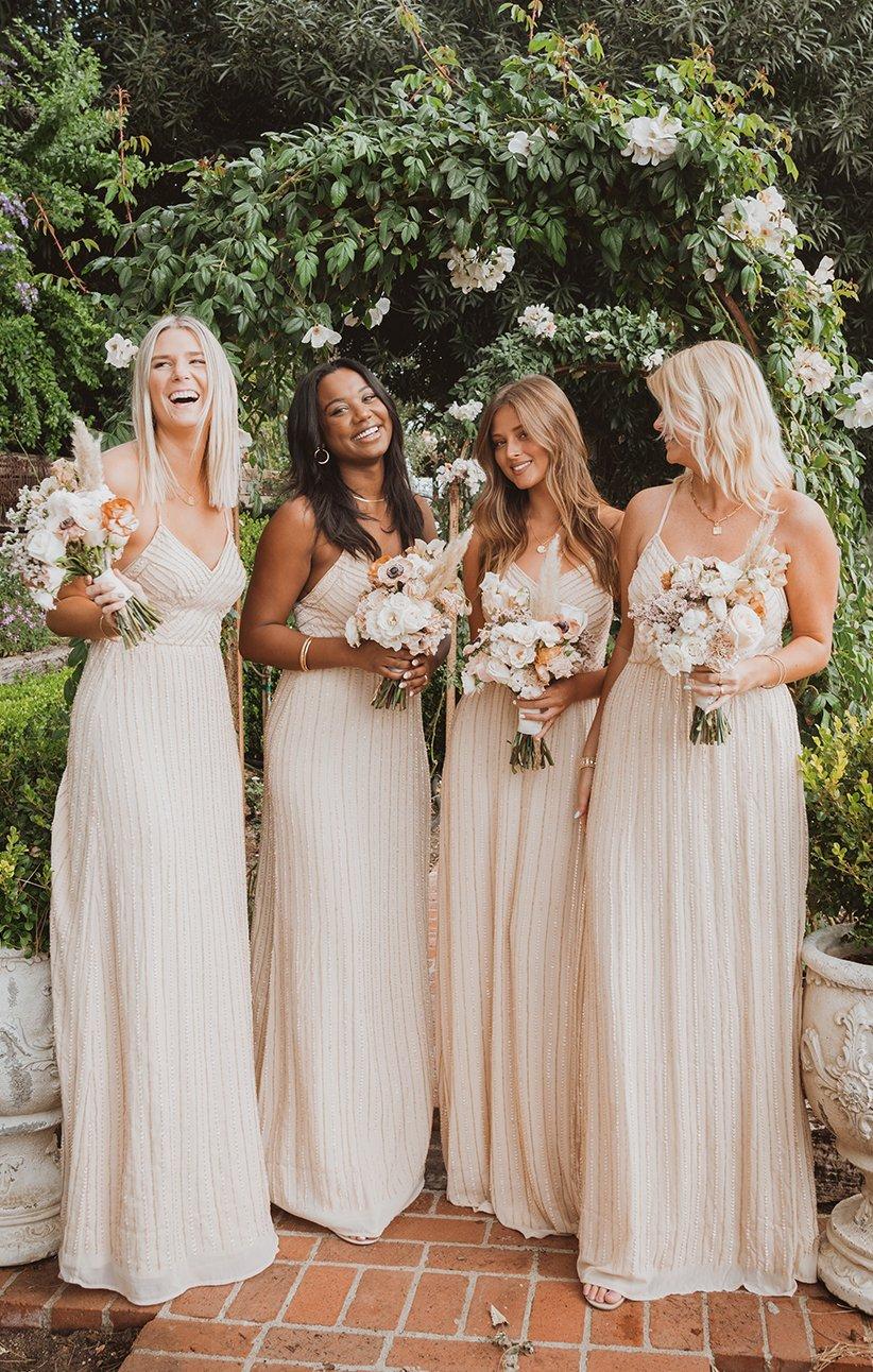 bridesmaid dresses, bridesmaid dress ideas, bridesmaid dress colors, bridesmaid dress styles, champagne bridesmaid dress, maxi bridesmaid dress