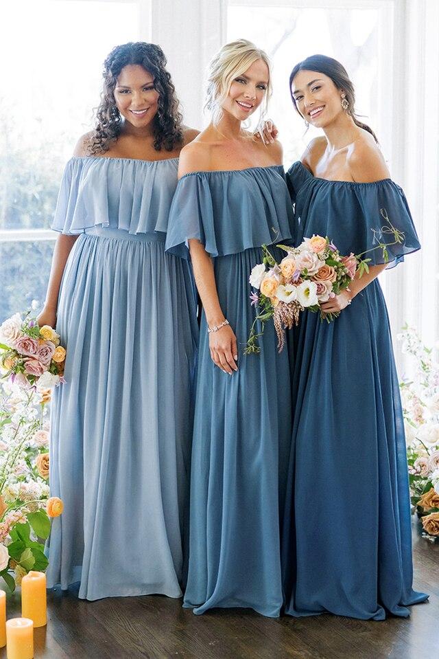 bridesmaid dresses, bridesmaid dress ideas, bridesmaid dress colors, bridesmaid dress styles, blue bridesmaid dress, off the shoulder bridesmaid dresses