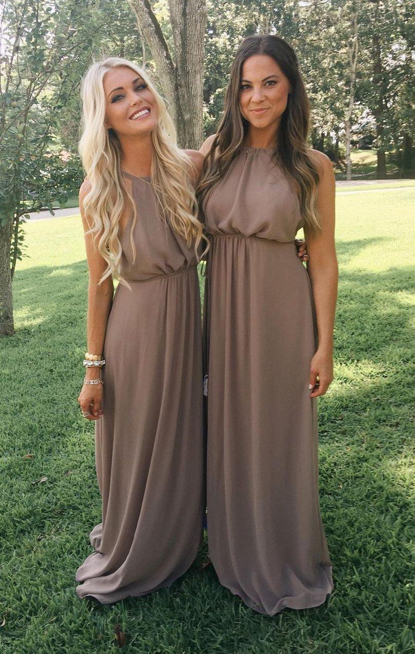 bridesmaid dresses, bridesmaid dress ideas, bridesmaid dress colors, bridesmaid dress styles, brown bridesmaid dress, halter bridesmaid dress