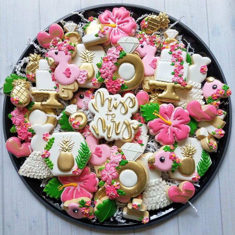 wedding sugar cookies, wedding shower cookies, bridal shower foods, bridal shower cookies, wedding favours, decorated wedding shower cookies, tropical sugar cookies