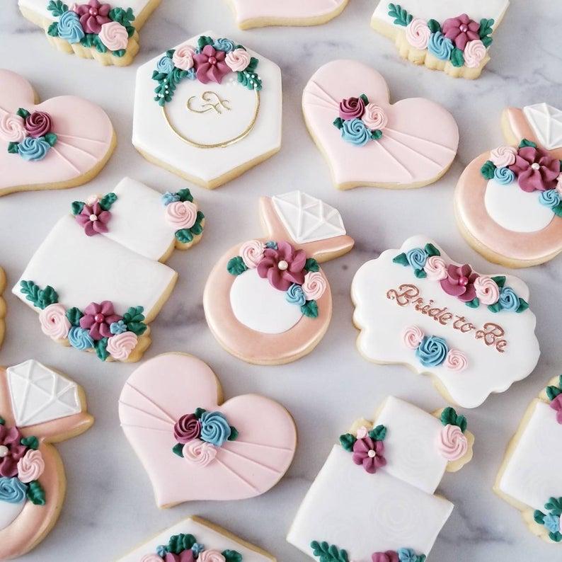 wedding sugar cookies, wedding shower cookies, bridal shower foods, bridal shower cookies, wedding favours, decorated wedding shower cookies, wedding cake cookies, engagement ring cookies