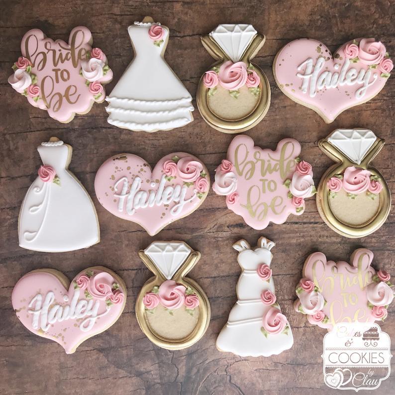 wedding sugar cookies, wedding shower cookies, bridal shower foods, bridal shower cookies, wedding favours, decorated wedding shower cookies, bride to be cookies, ring cookies