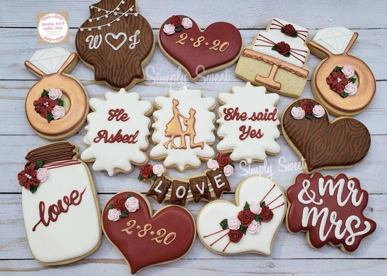 wedding sugar cookies, wedding shower cookies, bridal shower foods, bridal shower cookies, wedding favours, decorated wedding shower cookies, rustic sugar cookies