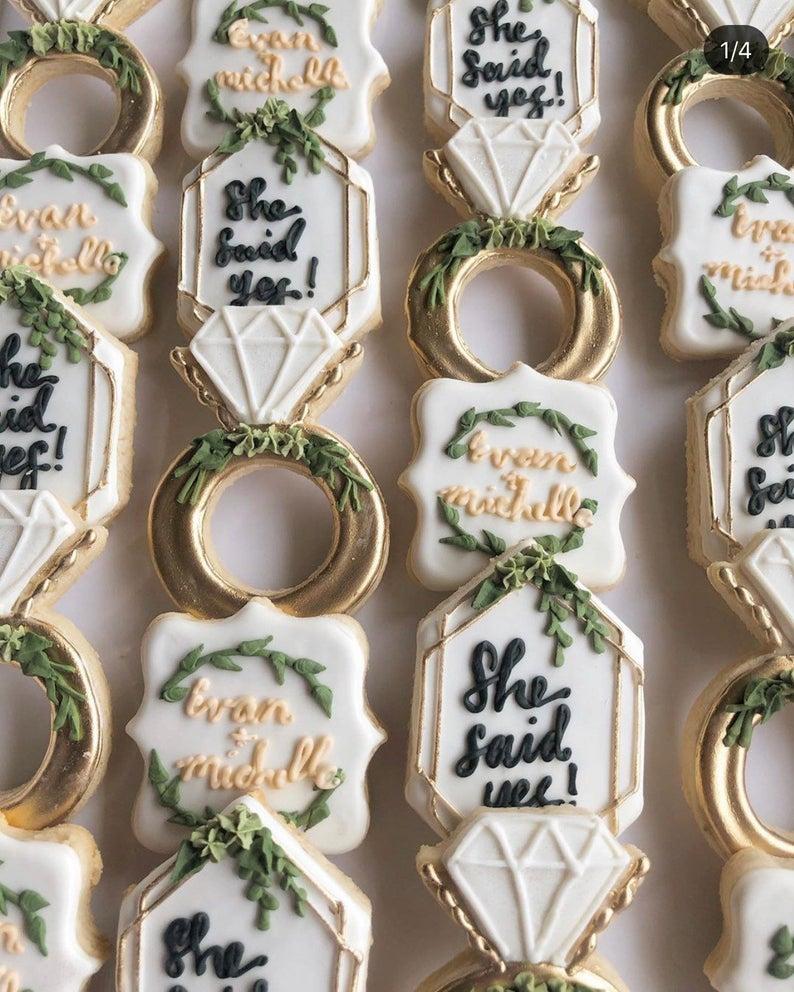 wedding sugar cookies, wedding shower cookies, bridal shower foods, bridal shower cookies, wedding favours, decorated wedding shower cookies, engagement cookies, engagement sugar cookies
