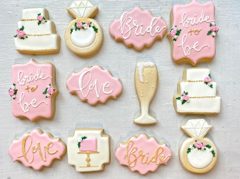 wedding sugar cookies, wedding shower cookies, bridal shower foods, bridal shower cookies, wedding favours, decorated wedding shower cookies, bride cookies