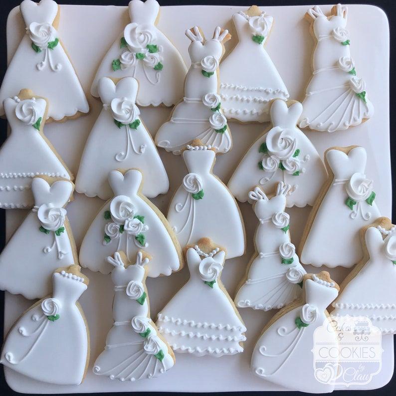 wedding sugar cookies, wedding shower cookies, bridal shower foods, bridal shower cookies, wedding favours, decorated wedding shower cookies, wedding dress cookies, dress cookies