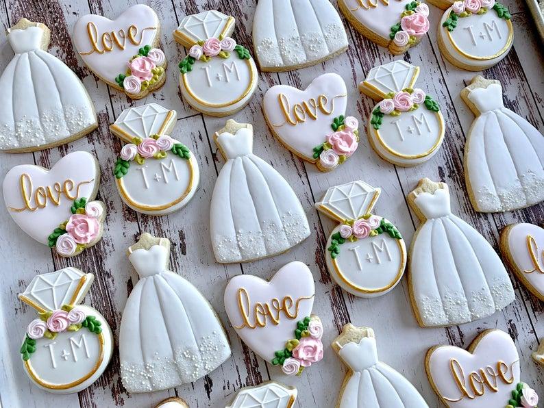 wedding sugar cookies, wedding shower cookies, bridal shower foods, bridal shower cookies, wedding favours, decorated wedding shower cookies, engagement ring cookies, wedding dress cookies