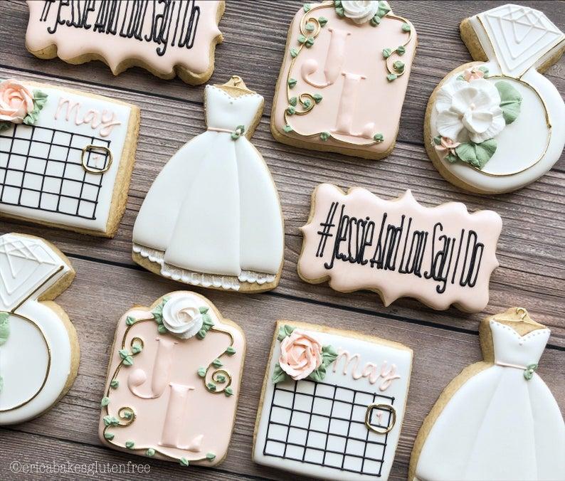 wedding sugar cookies, wedding shower cookies, bridal shower foods, bridal shower cookies, wedding favours, decorated wedding shower cookies, save the date cookies, save the date favours