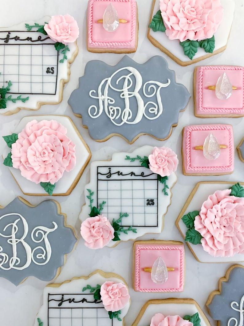 wedding sugar cookies, wedding shower cookies, bridal shower foods, bridal shower cookies, wedding favours, decorated wedding shower cookies, engagement ring cookies