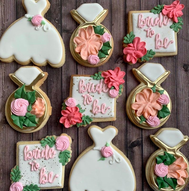 wedding sugar cookies, wedding shower cookies, bride to be cookies, wedding dress cookies, engagement cookies, bridal shower foods, bridal shower cookies, wedding favours, decorated wedding shower cookies